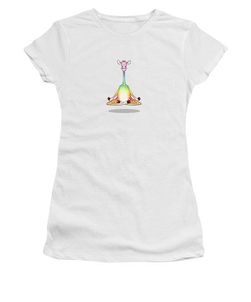 Levitating Meditating Rainbow Giraffe Women's T-Shirt