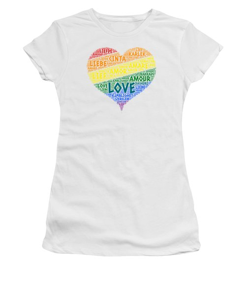 Lgbt Rainbow Hearth Flag Illustrated With Love Word Of Different Languages Women's T-Shirt