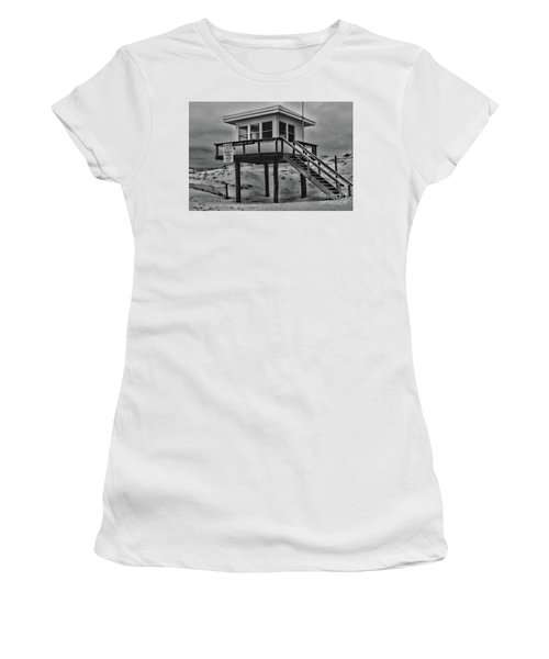 Women's T-Shirt (Junior Cut) featuring the photograph Lifeguard Station 2 In Black And White by Paul Ward