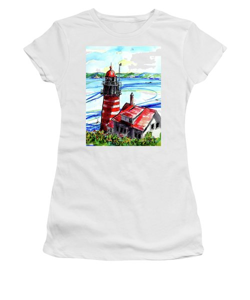 Lighthouse In Maine Women's T-Shirt (Junior Cut) by Terry Banderas