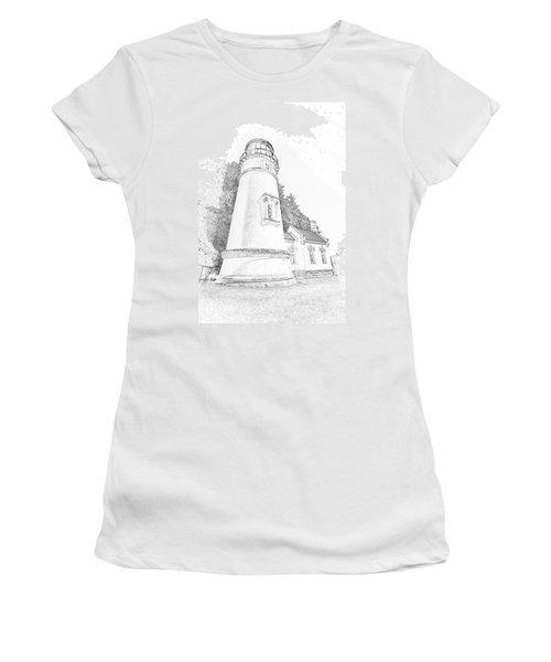 Lighthouse In Oregon Women's T-Shirt (Junior Cut) by Jeffrey Jensen