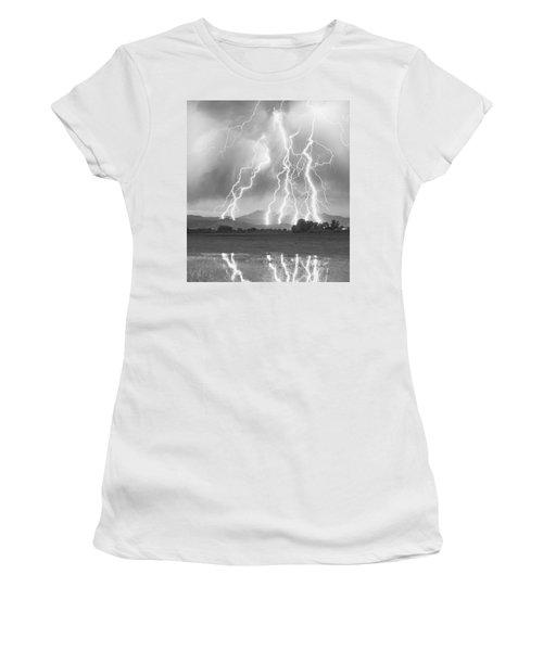 Lightning Striking Longs Peak Foothills 4cbw Women's T-Shirt (Athletic Fit)