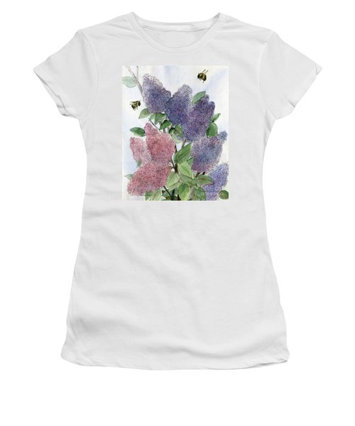 Lilacs And Bees Women's T-Shirt