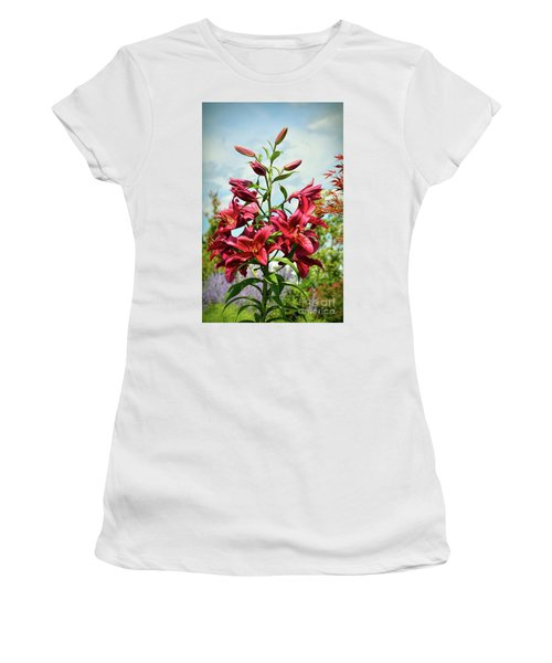 Women's T-Shirt (Athletic Fit) featuring the photograph Lilies In The Garden by Kerri Farley