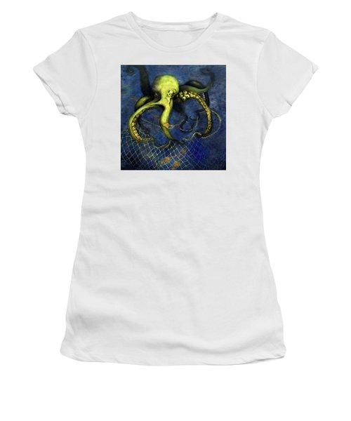 Lime Green Octopus With Net Women's T-Shirt