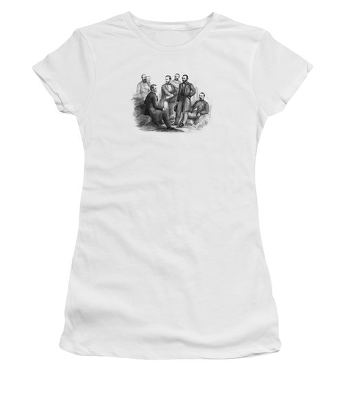 Lincoln And His Generals Black And White Women's T-Shirt (Athletic Fit)