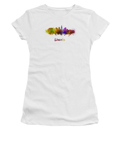 Lincoln Skyline In Watercolor Women's T-Shirt