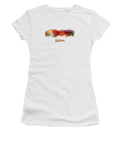 Lisbon V2 Skyline In Watercolor Women's T-Shirt