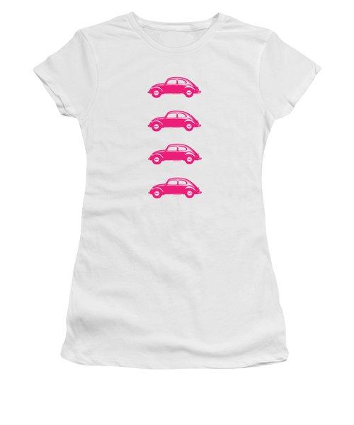 Little Pink Beetles Women's T-Shirt (Junior Cut) by Edward Fielding
