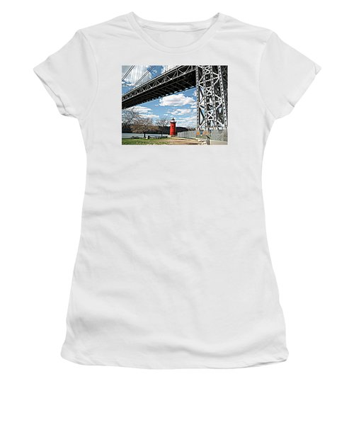 Women's T-Shirt (Athletic Fit) featuring the photograph Little Red Lighthouse Under George Washington Bridge, Nyc by Merton Allen