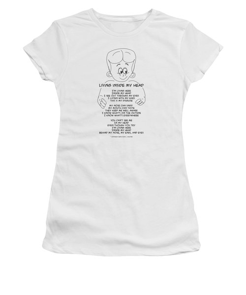 Women's T-Shirt (Athletic Fit) featuring the drawing Living Inside My Head by John Haldane