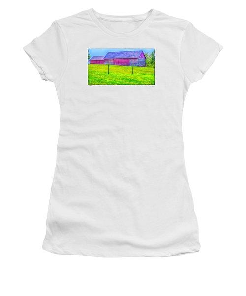 Log Barn Women's T-Shirt (Junior Cut) by R Thomas Berner
