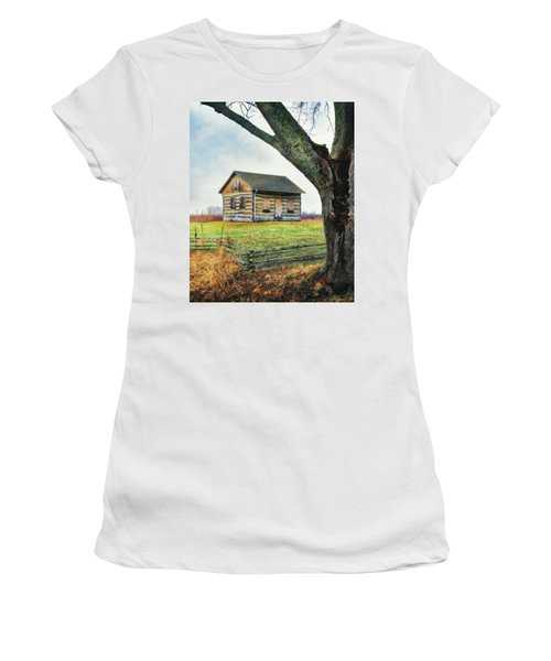 Log Cabin - Paradise Springs - Kettle Moraine State Forest Women's T-Shirt (Junior Cut) by Jennifer Rondinelli Reilly - Fine Art Photography