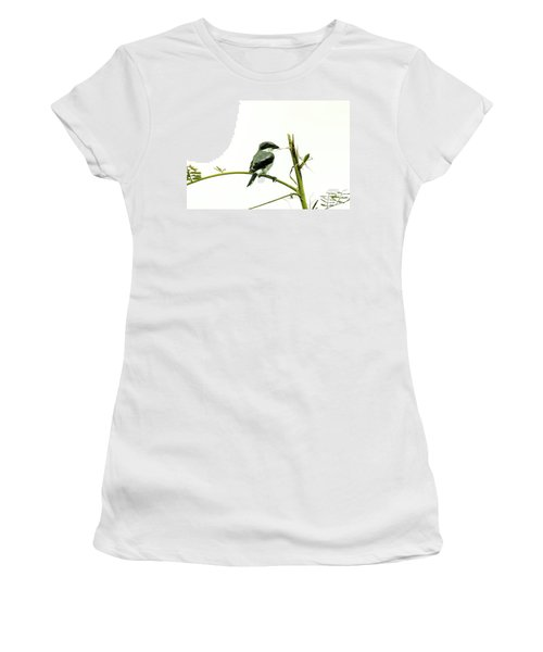 Women's T-Shirt (Junior Cut) featuring the photograph Loggerhead Shrike And Mantis by Robert Frederick
