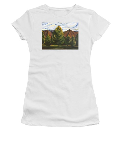 Women's T-Shirt (Junior Cut) featuring the painting Lollipop Trees by Pat Purdy