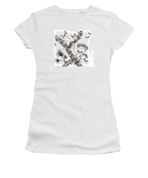 Women's T-Shirt (Athletic Fit) featuring the drawing Lollywimple Garden by Jan Steinle