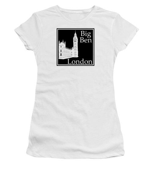 London's Big Ben In Black Women's T-Shirt (Junior Cut) by Custom Home Fashions