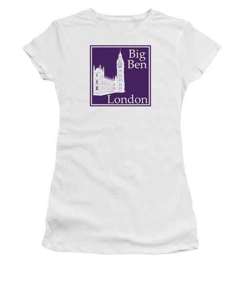 London's Big Ben In Purple Women's T-Shirt (Junior Cut) by Custom Home Fashions