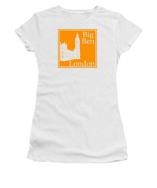 London's Big Ben In Tangerine Women's T-Shirt (Junior Cut) by Custom Home Fashions