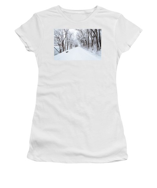 Lonely Snowy Road Women's T-Shirt (Athletic Fit)