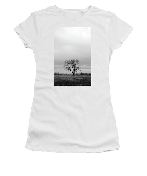 Lonely Tree In A Spring Field Women's T-Shirt (Junior Cut) by GoodMood Art