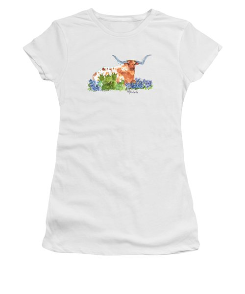 Longhorn In The Cactus And Bluebonnets Lh014 Kathleen Mcelwaine Women's T-Shirt (Junior Cut) by Kathleen McElwaine