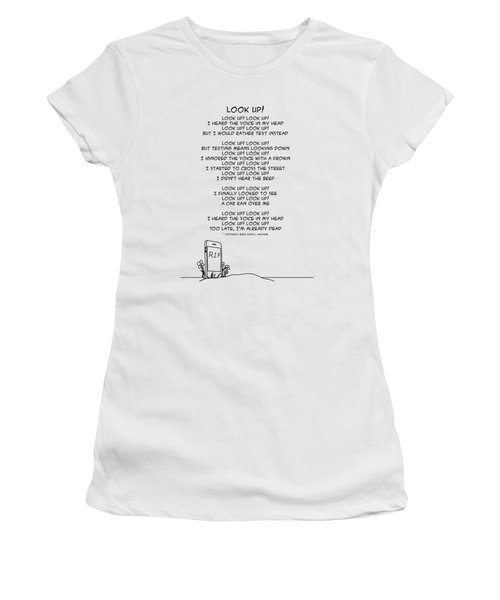 Women's T-Shirt (Athletic Fit) featuring the drawing Look Up by John Haldane