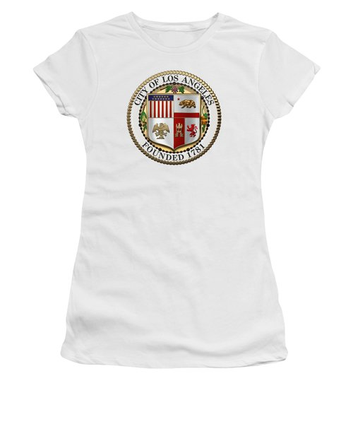 Los Angeles City Seal Over White Leather Women's T-Shirt (Junior Cut) by Serge Averbukh
