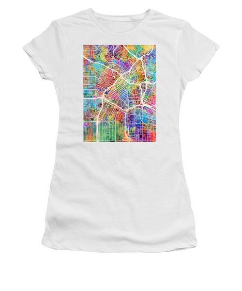 Los Angeles City Street Map Women's T-Shirt (Athletic Fit)