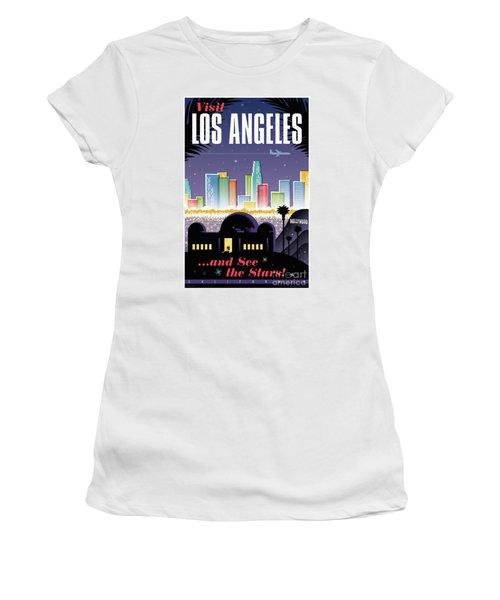 Los Angeles Retro Travel Poster Women's T-Shirt (Junior Cut) by Jim Zahniser