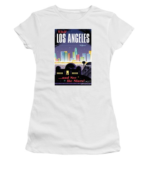Los Angeles Retro Travel Poster Women's T-Shirt (Athletic Fit)