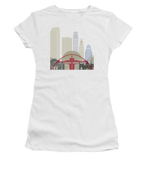 Los Angeles Skyline Poster Women's T-Shirt (Junior Cut) by Pablo Romero