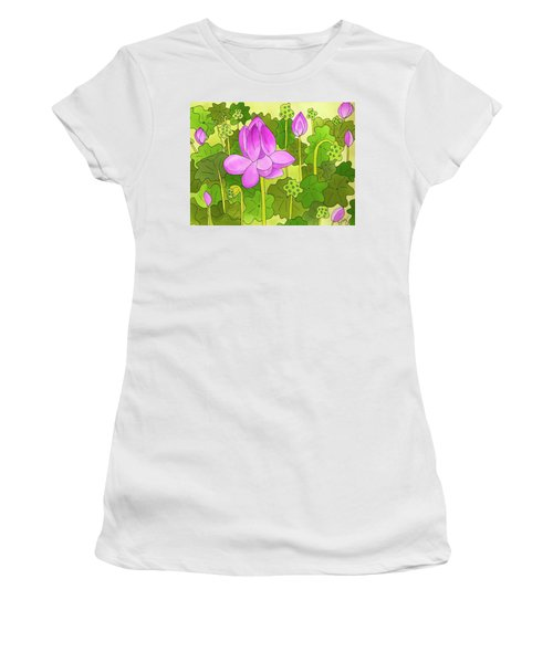 Lotus And Waterlilies Women's T-Shirt (Athletic Fit)