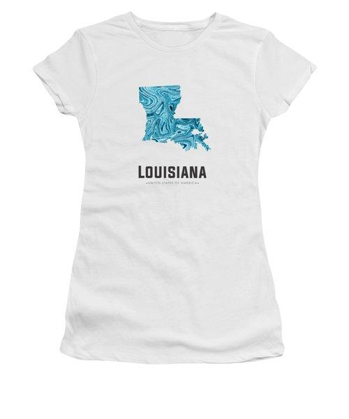 Louisiana Map Art Abstract In Blue Women's T-Shirt