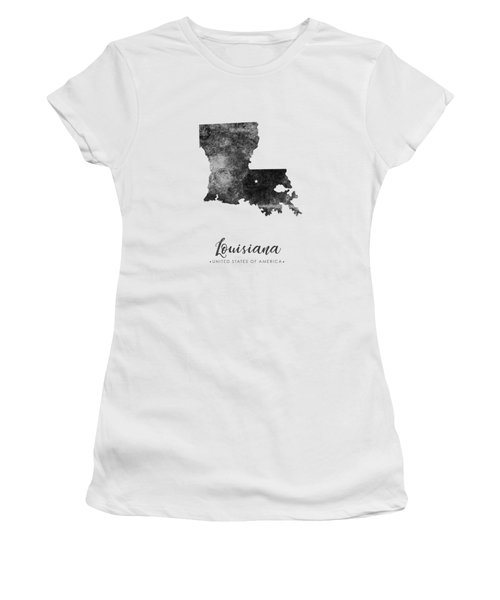 Louisiana State Map Art - Grunge Silhouette Women's T-Shirt