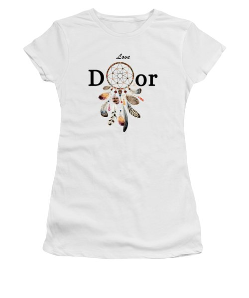 Women's T-Shirt (Athletic Fit) featuring the painting Love Dior Watercolour Dreamcatcher by Georgeta Blanaru