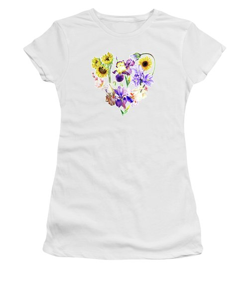 Women's T-Shirt (Athletic Fit) featuring the painting Love Flowers by Irina Sztukowski