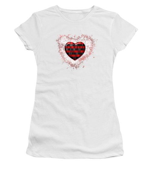 Women's T-Shirt featuring the digital art Love Horizontal Black And Red Stripes by Alberto RuiZ