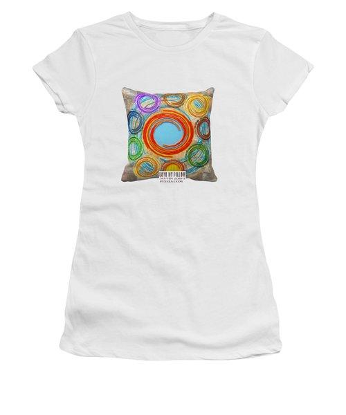 Love My Pillows Colorful Circles By Navinjoshi Artistwebsites Fineartamerica Pixels Women's T-Shirt (Junior Cut) by Navin Joshi