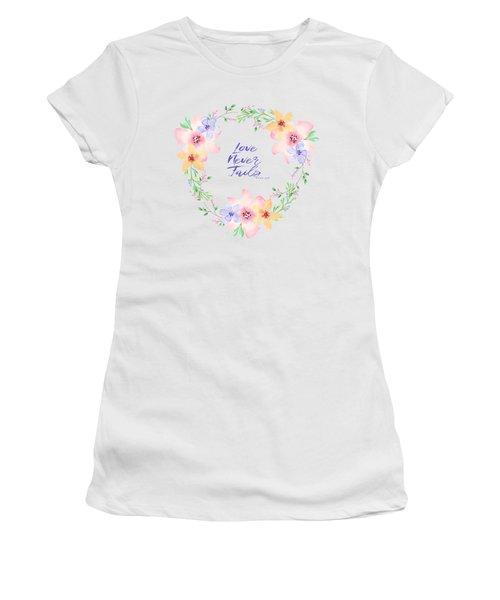 Love Never Fails Women's T-Shirt (Athletic Fit)