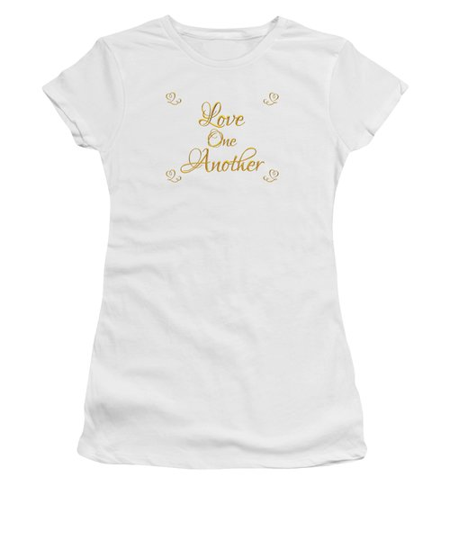 Women's T-Shirt featuring the digital art Love One Another Golden 3d Look Script by Rose Santuci-Sofranko