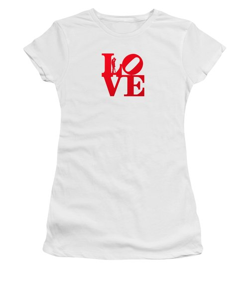 Love Typography - Red On White Women's T-Shirt (Athletic Fit)