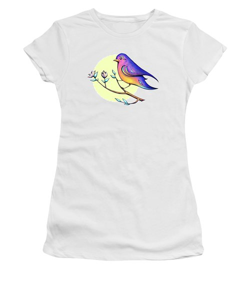 Lovely Spring Day Bird And Flowers Women's T-Shirt (Athletic Fit)