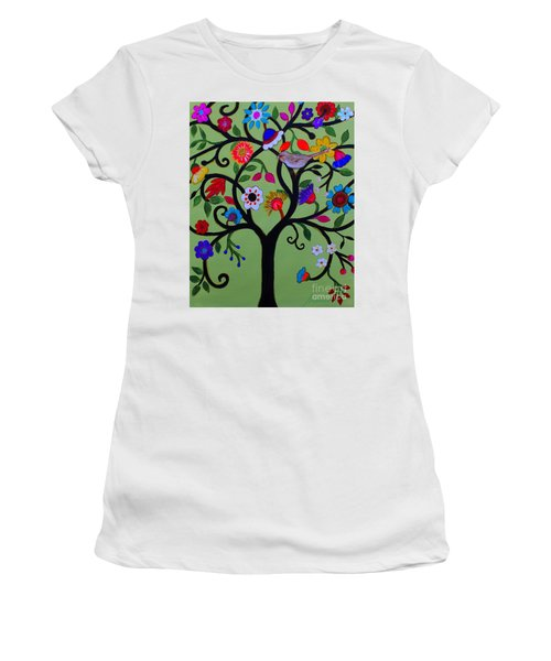 Women's T-Shirt (Athletic Fit) featuring the painting Loving Tree Of Life by Pristine Cartera Turkus