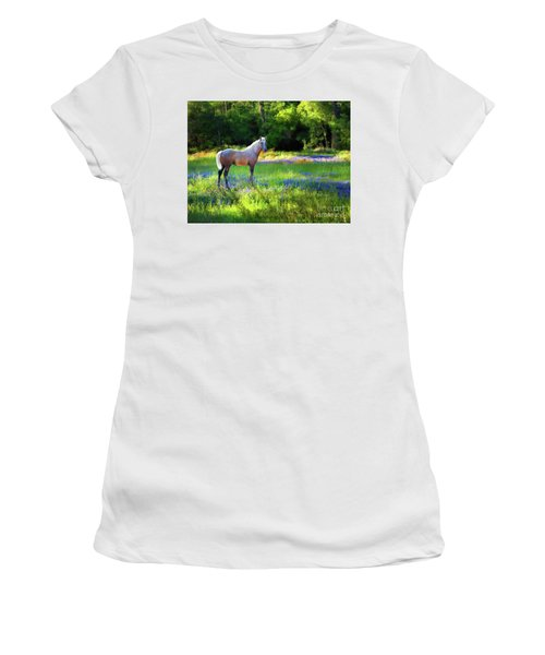 Women's T-Shirt (Athletic Fit) featuring the photograph Lupine Delight by Melinda Hughes-Berland