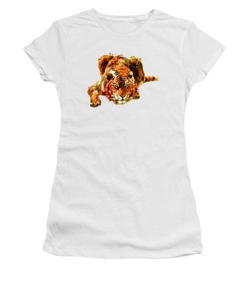 Lurking Tiger Women's T-Shirt (Junior Cut) by Marian Voicu