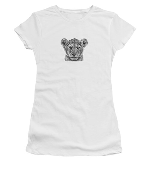 Women's T-Shirt (Junior Cut) featuring the drawing Lyla The Lion Cub by Abbey Noelle