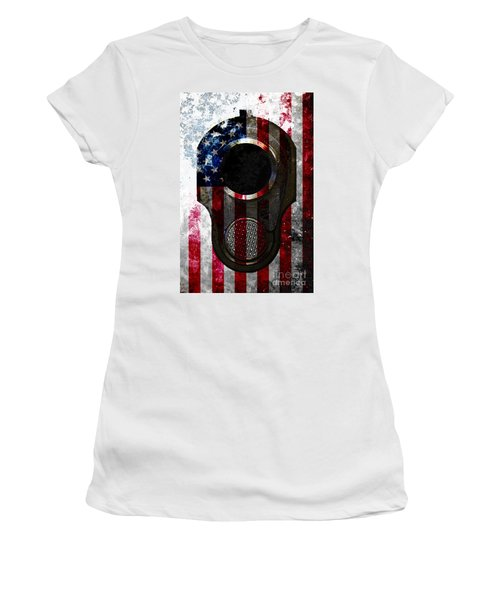 M1911 Colt 45 Muzzle And American Flag On Distressed Metal Sheet Women's T-Shirt (Athletic Fit)