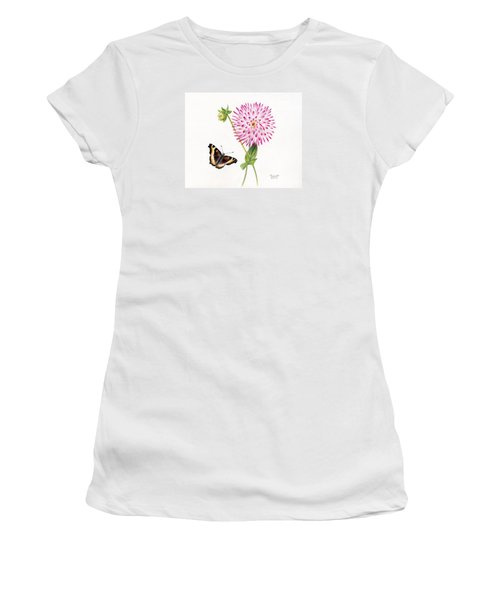 Magenta Dahlia With Butterfly Women's T-Shirt (Athletic Fit)