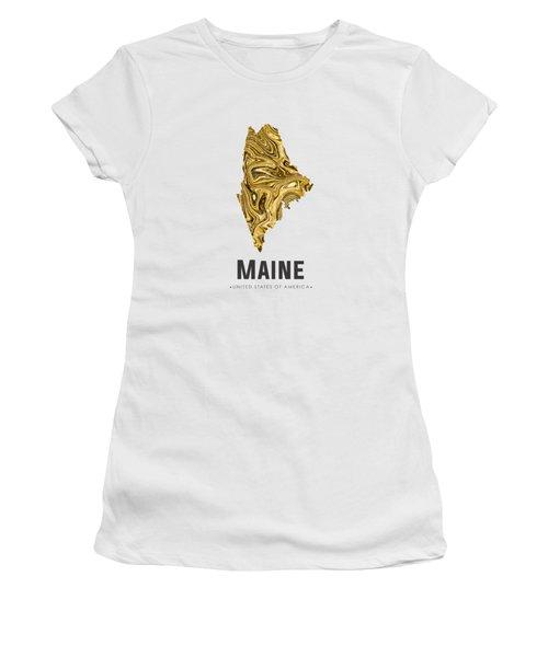 Maine Map Art Abstract In Golden Brown Women's T-Shirt